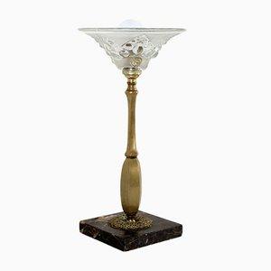 Art Deco Tischlampe aus Kupfer & Glas, 1920er