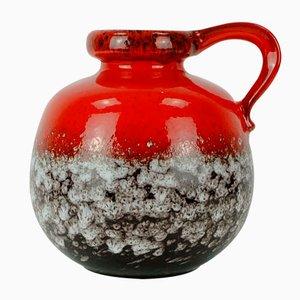 Mid-Century Vase in Rot & Braun mit Weißer Tropfglasur von Scheurich