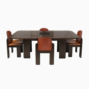 Solid Wood & Leather Dining Set, 1970s