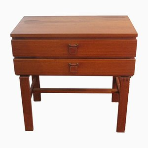 Danish Teak Bedside Table with Two Drawers, 1960s