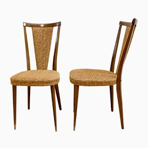 Französische Nussbaum Stühle, 1970er, 2er Set