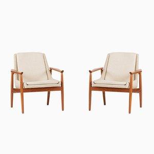 Teak Lounge Chairs by Arne Vodder for Slagelse Møbelværk, 1950s, Set of 2