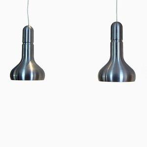 Dänische Aluminium Lampen, 1960er, 2er Set