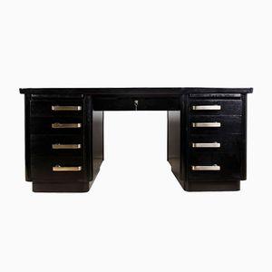 Vintage British Art Deco Black Desk