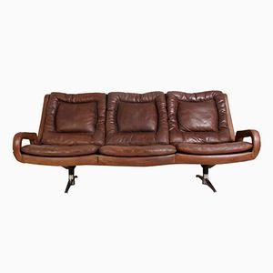 Swedish Retro Leather Sofa, 1960s