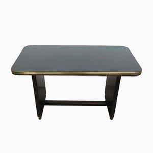 Table Vintage en Bois avec Plateau Noir en Verre, 1950s