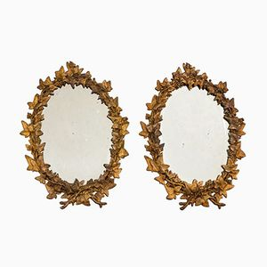 Vintage Gilded Oval Mirrors, Set of 2