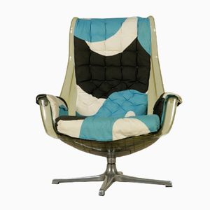 Plastic & Fabric Swivel Armchair, 1970s