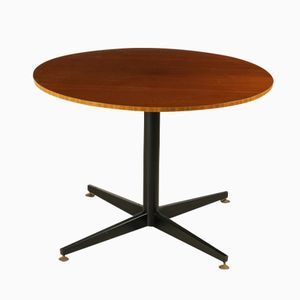 Table Vintage Ronde en Placage d'Acajou