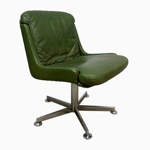 Vintage Office Chair with Olive Green Leather