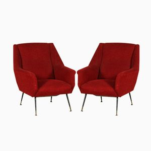 Vintage Foam, Fabric and Metal Armchairs, Set of 2