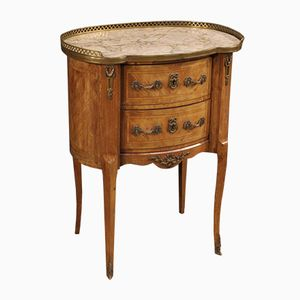 French Rosewood Night Stand with Marble Top, 1920s