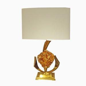Vergoldete Tischlampe aus Messing und Kristall von Jacques Duval-Brasseur, 1970er