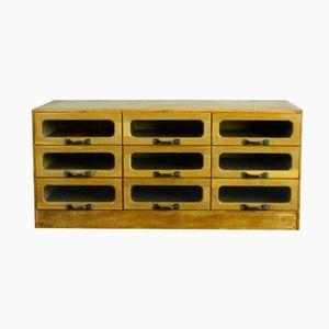 Vintage Oak Nine-Drawer Haberdashery Cabinet