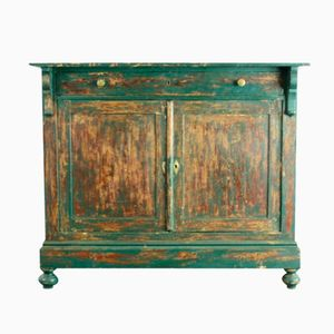 Vintage French Painted Pine Cabinet