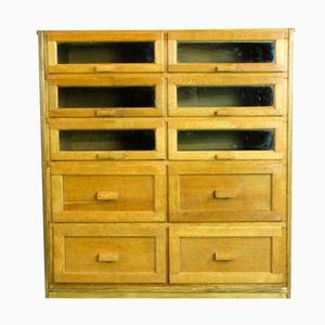 Mid-Century Oak Ten-Drawer Haberdashery Cabinet