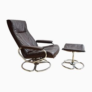 Danish Brown Leather Swivel Chair and Ottoman from Kebe, 1960s