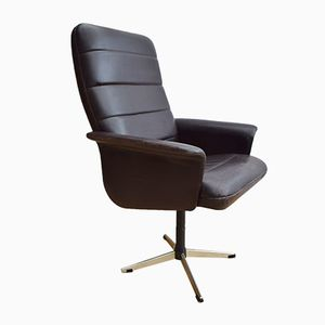 Danish Brown Leather Swivel Office Chair from Komfort, 1970s