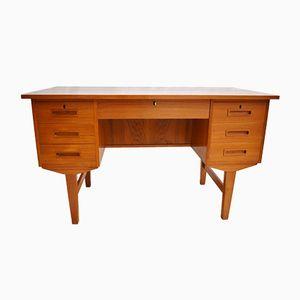 Danish Teak Twin Pedestal Desk, 1970s