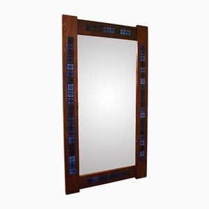 Danish Rosewood Mirror with Glazed Tile Decoration, 1970s
