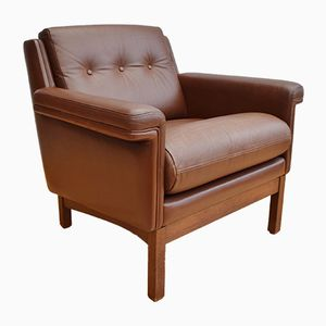 Danish Brown Leather Armchair, 1970s