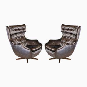 Walnut Swivel Lounge Chairs, 1970s, Set of 2