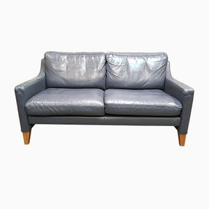 Scandinavian Blue Leather 2-Seater Sofa, 1970s