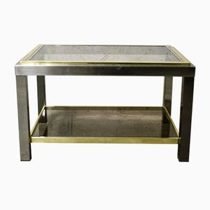 French Two-Tiered Brass and Chrome Side Table, 1970s