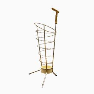 Austrian Mid-Century Bamboo and Brass Umbrella Stand