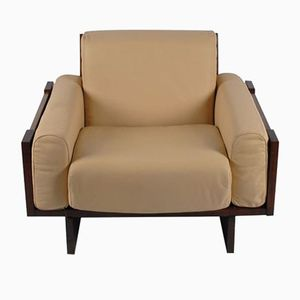 Mid-Century Norwegian Mahogany and Tan Leather Armchair by Peter Opsvik, 1960s