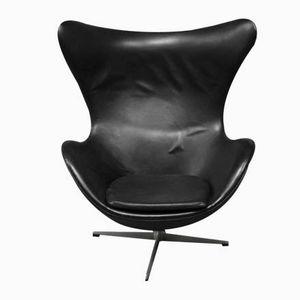 Modell 3316 Leder Egg Chair von Arne Jacobsen für Fritz Hansen, 1963