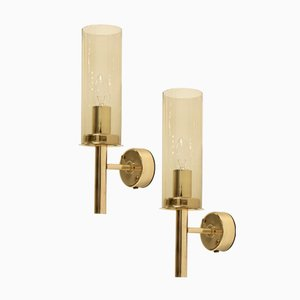 Model 169/14 Brass Wall Lights by Hans-Agne Jakobsson for AB Markaryd, 1960s, Set of 2