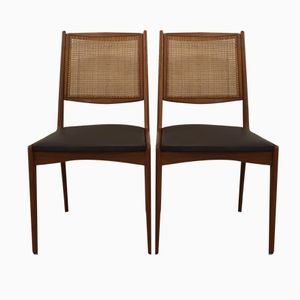 Teak and Rattan Chairs by Karl-Erik Ekselius for JOC Vetlanda, Set of 2