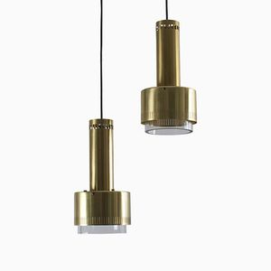 Mid-Century Danish Brass and Glass Pendant Lamp by Kay Kørbing for Lyfa, 1960s
