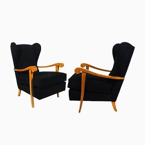Wing Back Armchairs, 1940s, Set of 2