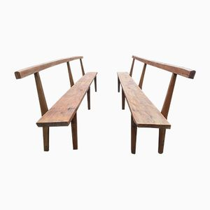 Vintage French Church Benches, Set of 2
