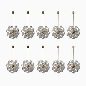 Vintage Large German Brass Flower Sputniks, Set of 10