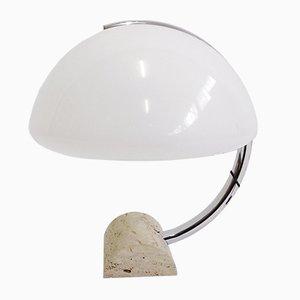 Mid-Century Travertine Tischlampe von Elio Martinelli