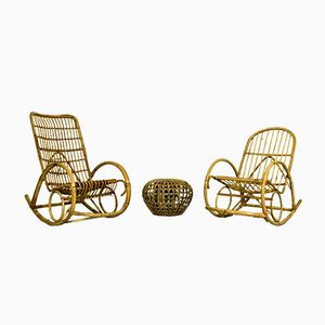 Rocking Chairs en Bambou & Repose-Pied, Pays-Bas, 1960s