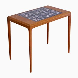 Teak Side Table with Inset Tiles by Johannes Andersen for CF Christensen, 1960s
