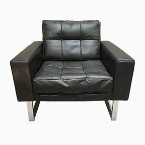 Black Leather & Chrome Armchair, 1950s