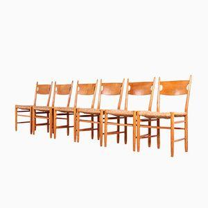 Scandinavian Oak & Straw Chairs, 1950s, Set of 6