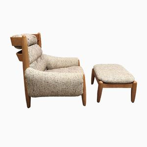 Large Mid-Century Scandinavian Style Lounge Chair & Ottoman
