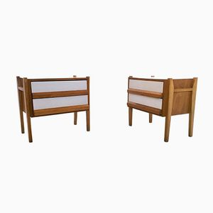 Italian Oak & Formica Bedside Tables, 1950s, Set of 2