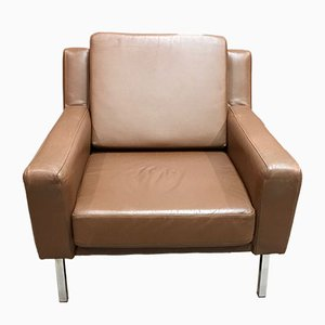 Mid-Century Scandinavian Style Brown Leather Armchair