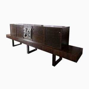 Palisander Sideboard with Embossed Panel, 1960s