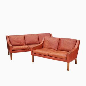 Mid-Century Danish Leather Sofas, Set of 2
