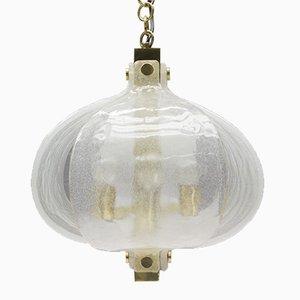 Mid-Century Murano Glas & Messing Hängelampe von Kaiser Leuchten