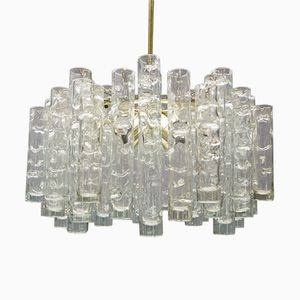 Mid-Century Clear Ice Glass Chandelier from Doria