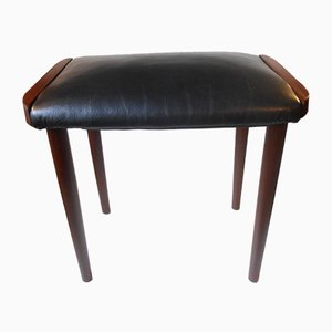 danish teak u0026 black leather ottoman 1960s